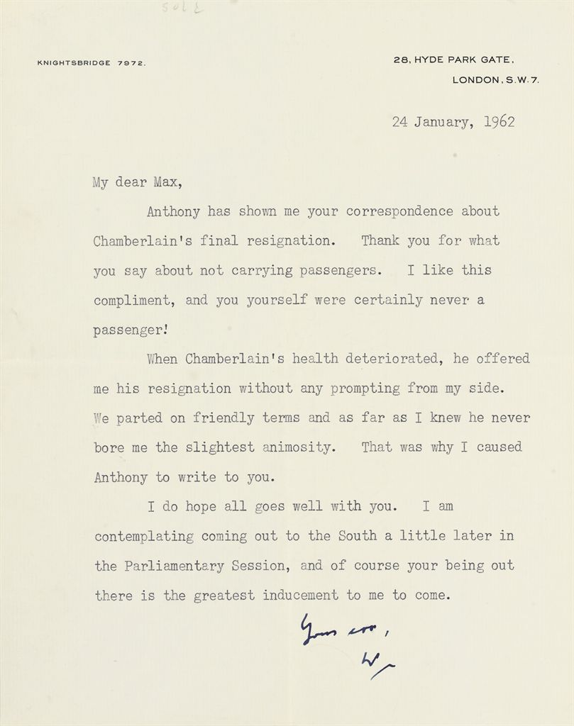 CHURCHILL, Winston S Typed letter signed ('W'), to Max [Aitk...